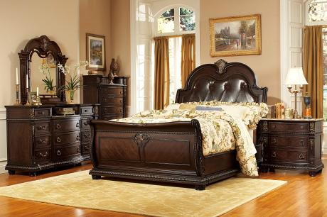 (3) QUEEN LEATHER BED/1394-1*