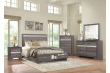 (3) Queen Platform Bed with Footboard Drawers/1505-1*