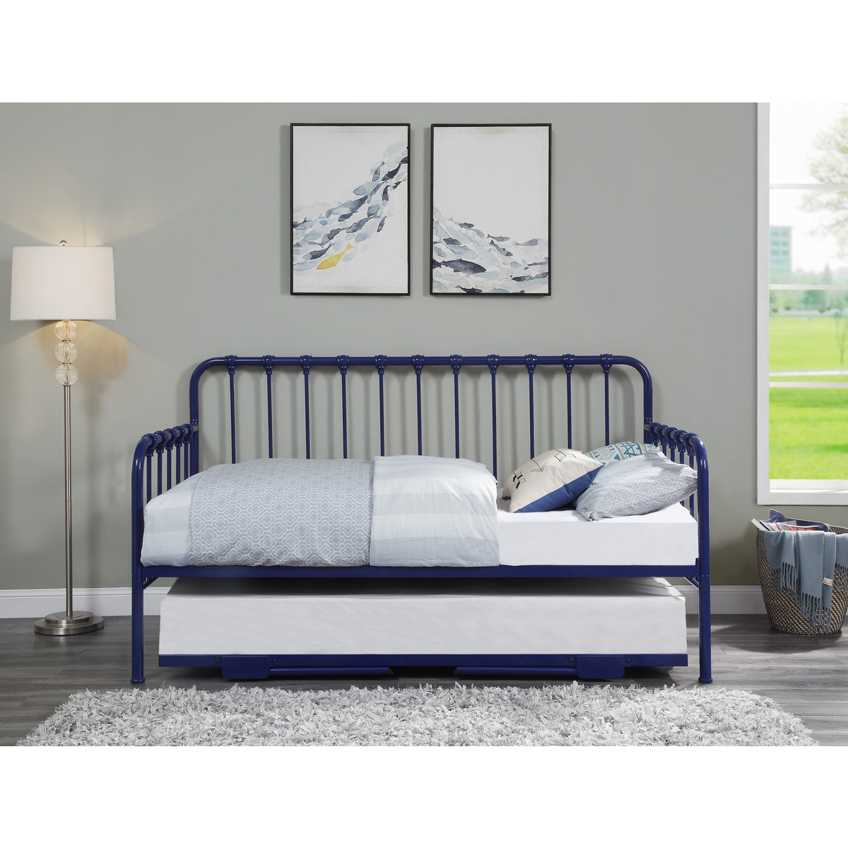 4983BU-NT DAYBED WITH LIFT-UP TRUNDLE, BLUE