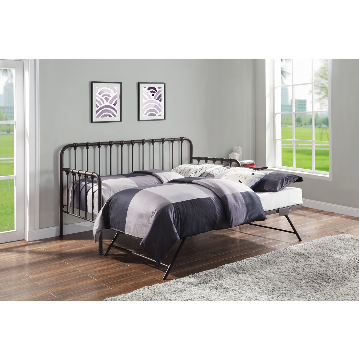 4983DZ-NT DAYBED WITH LIFT-UP TRUNDLE, DARK BRONZE