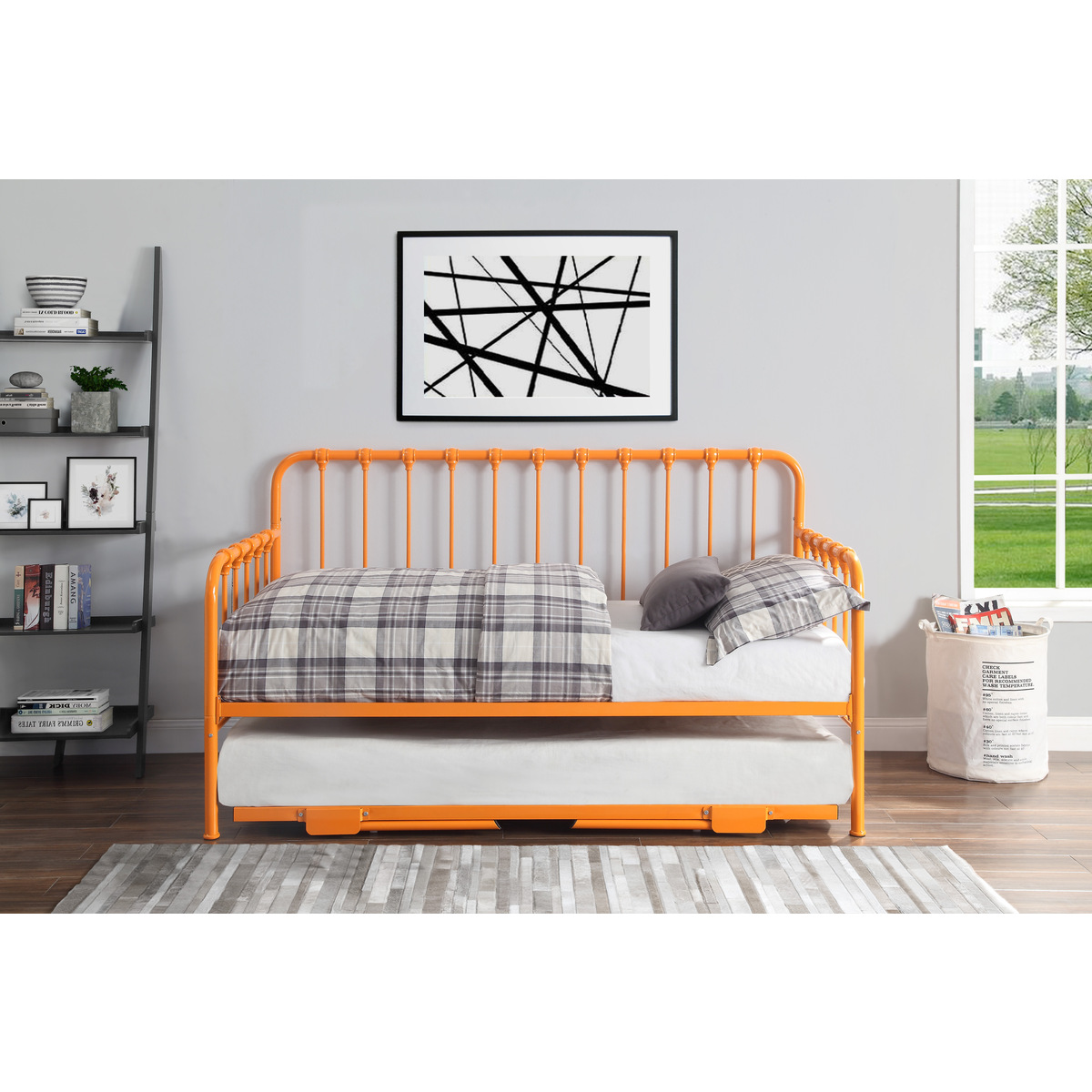 4983RN-NT DAYBED WITH LIFT-UP TRUNDLE, ORANGE