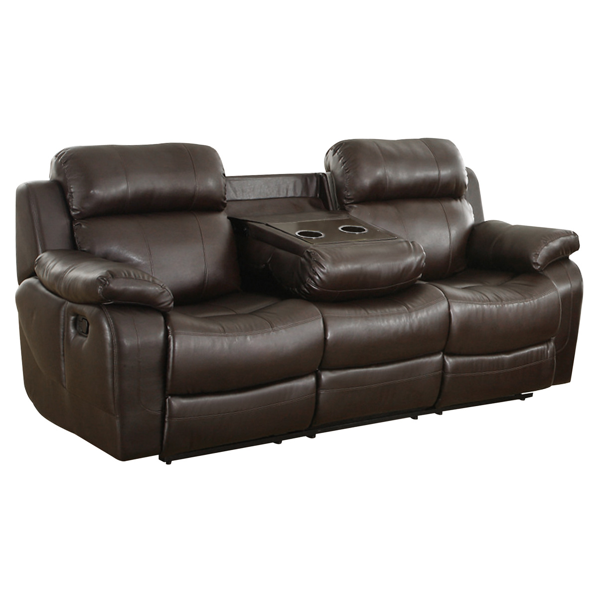 9724BRW-3 Double Reclining Sofa with Center Drop-Down Cup ...